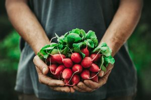 farmer with radishes