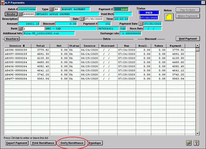 A/P Payments Screen